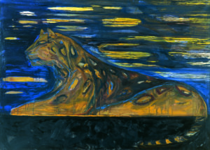 "Leena Luostarinen's painting ""Night leopard"""