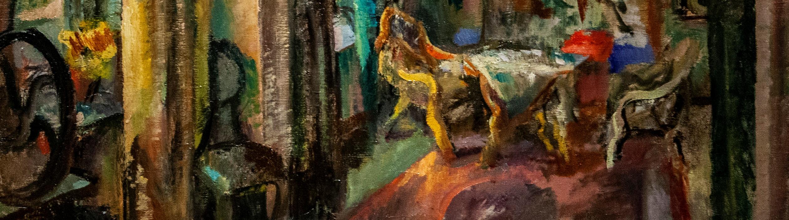 Yksityiskohta Eemu Myntin teoksesta Taiteilijan ateljee
